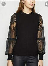 New Look Goth Black Jumper With Lace Sleeves. UK14