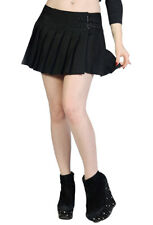 Black Plain Emo Gothic Punk Rockabilly Short Mini Pleated Skirt Banned Apparel
