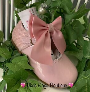 💖 Spanish Pink Genuine Leather Maryjane Glitter Bow Shoes 💖 SMALL FITTING❣️