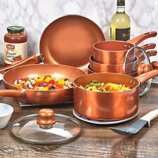 6 PCS URBN-CHEF Ceramic Copper Induction Cooking Pots Lid Saucepans Cookware Set