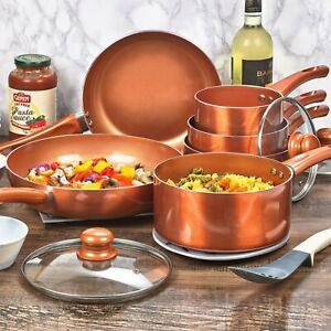 6 PCS URBN-CHEF Ceramic Copper Induction Cooking Pots Lid Saucepans Cookware Set