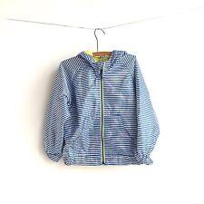 Old Navy Windbreaker Girls Size 5T Striped Blue White Nylon Full Zip Coat Hooded