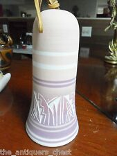 Vintage Navajo Native American Indian Etched Pottery bell Signed T Philips [*swb