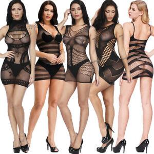 Sexy Women Lingerie Babydoll Fishnet Mini Dress Nightwear Camisole Clubwear