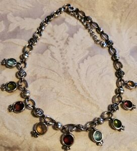 """Brighton Multi Colored Faceted Crystal Gems Adjustable Necklace Choker 15"""" - 18"""""""