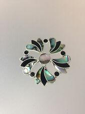 Mexican Fashion Abalone Flower Inspired Brooch