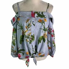TRUTH Blue Striped Floral Off The Shoulder Front Knot Button Up Top Womens L New