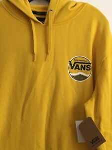 New Mens VANS Skater Long Sleeve Hoodie Pullover Sweatshirt Size Large Gold