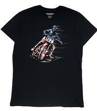 $95 RALPH LAUREN Men BLACK RED WHITE BLUE AMERICAN BIKER CREW NECK T SHIRT TEE M