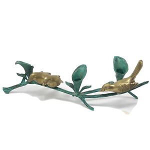 Vintage Brass Yellow And Verdrigis Sparrows On The Branch Candleholder