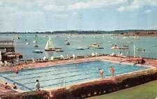 Manhasset New York Sail Boat Scene Pool View Vintage Postcard K40688