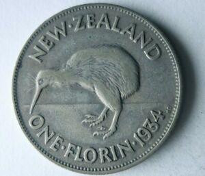 1934 NEW ZEALAND FLORIN - Rare Date High Value Silver Coin - Lot #Y8