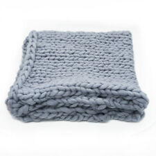 100x80cm Warm Handmande Chunky Knit Blanket Thick Yarn Bulky Bed sofa Throw