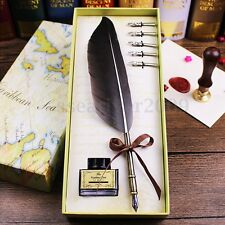 Antique Vintage Owl Quill Feather Dip Pen Writing Ink Set 5 Steel Nibs Gift Box