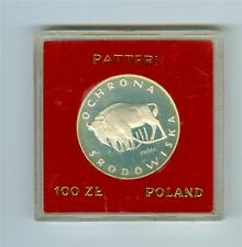 PATTERN POLAND 1977 100 ZLOTYCH PROBA PR-311 BISON SILVER PROOF TONED