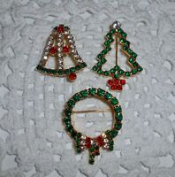 Vintage Pave Rhinestone Christmas Brooch Pin Lot of 3 TREE BELL WREATH  C144