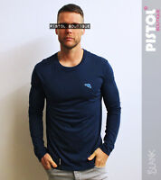 "Pistol Boutique plain Navy ""Blank"" round neck long sleeve mens t-shirt gun logo"