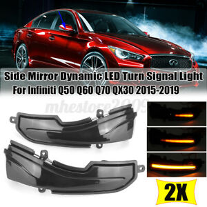 LED Dynamic Side Mirror Turn Signal Light For Infiniti Q30 Q50 Q60 Q70 QX50 QX70