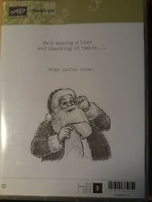 Stampin Up Santa's List cling red rubber Santa Claus Christmas Retired FREE SHIP