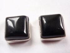 Black Onyx Square 925 Sterling Silver Stud Earrings Corona Sun Jewelry