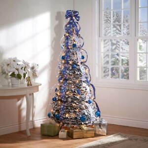 6-Foot Fully Decorated Blue & Silver Bow Pull-Up Collapsible Christmas Tree