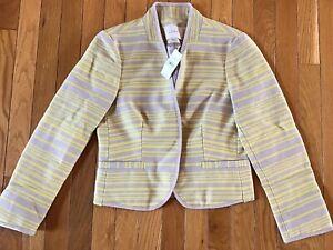 NEW Ann Taylor Loft Blazer Open Front Lined Jacket Size 2 Yellow & Gray Stripe