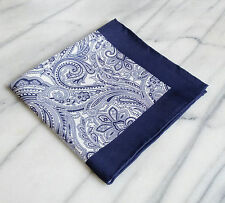 Silk Mens Pocket Square-Hand Rolled Navy and White Pocket Square with 4 designs