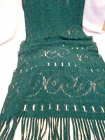 Vintage Green Acrylic Wrap Shawl Scarf, Made in Italy