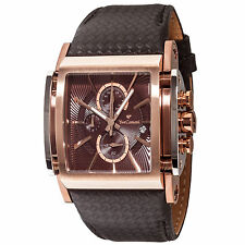 YVES Camani ESCAUT Mens Watch Rosegold Plated Chronograph Leather Strap New