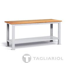 BANCO DA LAVORO GRIGIO CON PIANO IN LEGNO PER OFFICINA MIAL IDEAONE 05 062