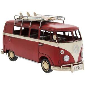 Tin Vintage Transporter Red Model VW Volkswagen Camper Kombi Van Surfboards