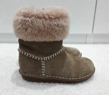 Girls Clarks Greeta Ace Tan Suede Winter Fur lined Boots Size Girls 9F