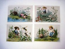 Set of (4) Vintage Small BlankTrade Cards w/ Snail, Bees, Grasshopper & Beetle *