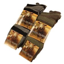 Mens Stripe Wool Blend Socks, Winter Warm Work Boot Socks, 6 Pairs, 6-11