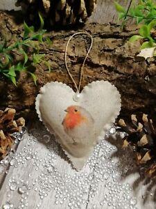 Robin christmas tree decoration Hanging Heart