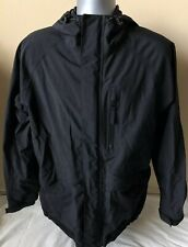 Cabela's Mens M Reg Gore-Tex Hooded Light Jacket Sealed Zipper Black EUC