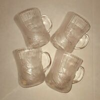 Arcoroc France Coffee Tea Cup Clear Glass Canterbury Crocus Embossed Set of 4