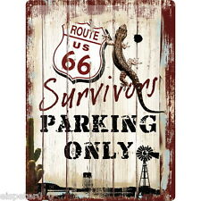Blechschild 30 x 40, Route 66 Survivors Parking Only, Werbeschild Art. 23148