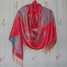 Reversible Red Orange & Teal & Metallic Gold Scarf/Shawl/Wrap