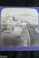 STA387 Italie Naples rue Chateau Fort Saint Elme albumen STEREO Photo stereoview