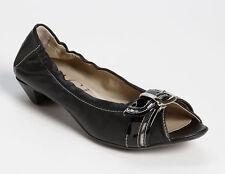 NIB AGL ATTILIO GIUSTI LEOMBRUNI Belted Peep Toe Pump US 6/36 Black Nappa/Patent