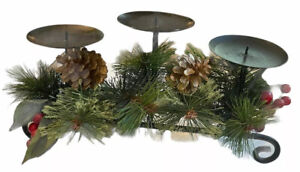 Collections Inc Black Iron Triple Pillar Candle Holder Holiday Centerpiece