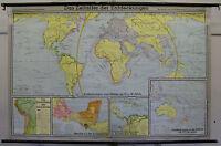 Schulwandkarte Weltkarte Inka Columbus 204x133 1969 vintage world wall map card