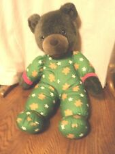"""AVON BEAR PLUSH GREEN PJS 18"""" TALKS AND MOVES MOUTH WORKS 1993"""
