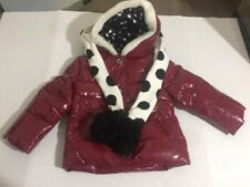 Gymboree Red Holiday Panda Winter Coat Jacket With Polka Scarf Size 2t-3t HTF