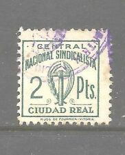 7214-SELLO CUOTA 1939  F.E.T. Y  J.O.N.S, FALANGE ESPAÑOLA ,2 PTS  CIUDAD REAL.