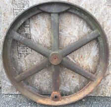 "Old Vtg Giant Heavy Industrial 33"" Cast Iron Wheel Lyon Iron Work Greene Ny D36"