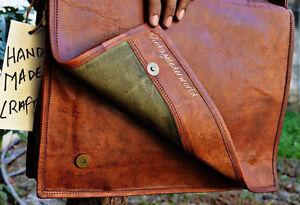 """15"""" Men's Vintage Brown Leather Flap Messenger Laptop Satchel Shoulder Bag"""
