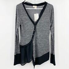 NWT Anthropologie Meadow Rue Black Gray Long Sleeve Cardigan Sweater Medium