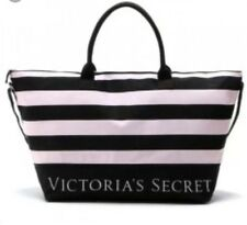 New Victoria's Secret Striped Oversized Weekend Duffle Pink Black Bag